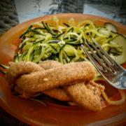 zucchini pasta on plate