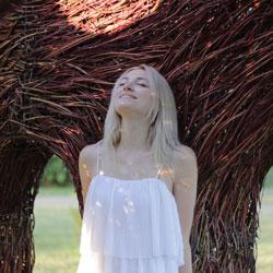 Blonde woman enjoying nature