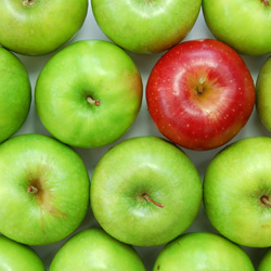 green apples and one red apple