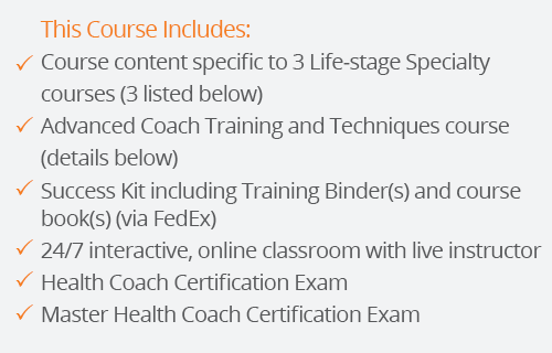 success kit for master health coach certification with three lifestages